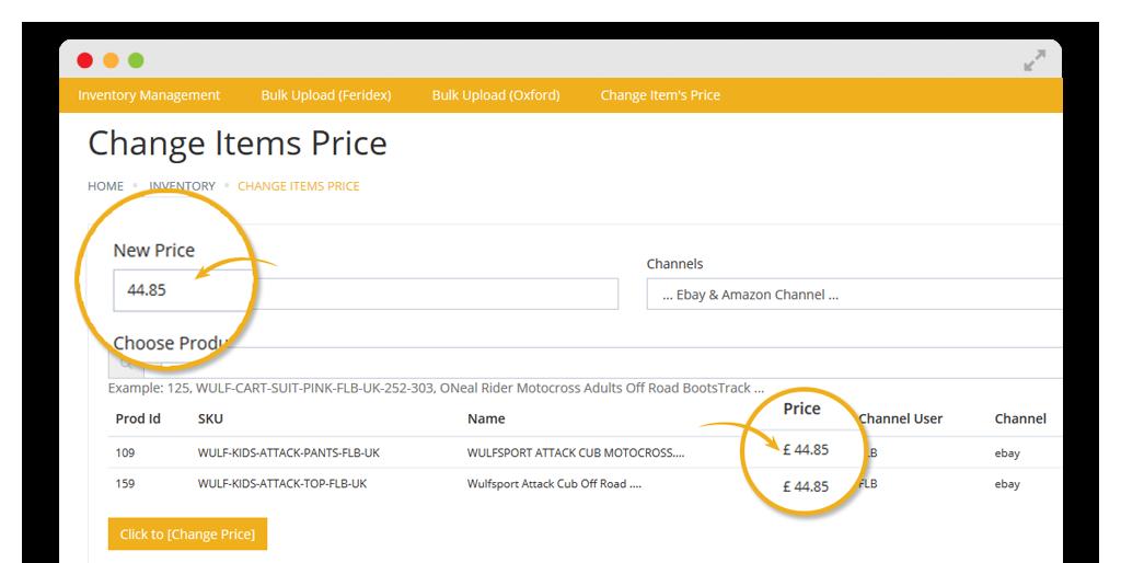 change bulk item price